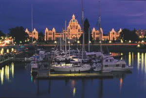 BC Legislature seen from across the docks in front of the Empress Hotel