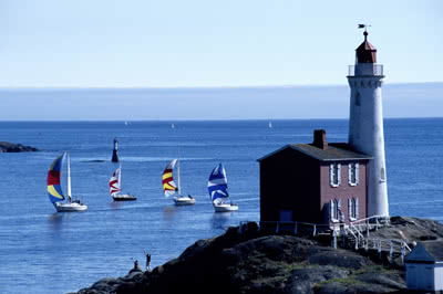 Fisgard Lighthouse and Sailboats