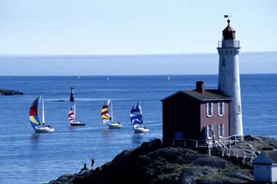 Fisgard Lighthouse and Sailboats